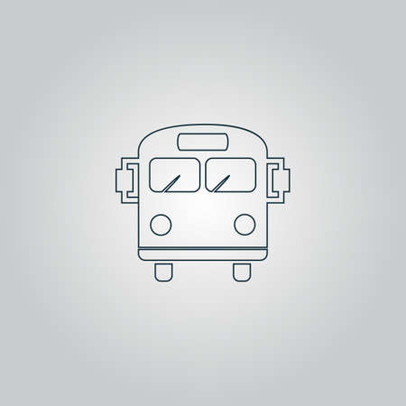 schoolbus: School Bus. Flat web icon or sign isolated on grey background.