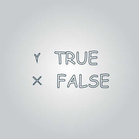 truthful: True and False. Flat web icon or sign isolated on grey background.   Illustration