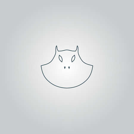 Executioner evil face mask. Flat web icon or sign isolated on grey background.