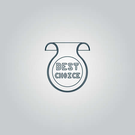 Bookmark with Best Choice message. Flat web icon or sign isolated on grey background.  Illustration