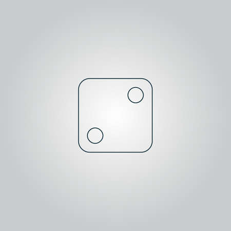 tossing: One dices - side with 2. Flat web icon or sign isolated on grey background.  Illustration