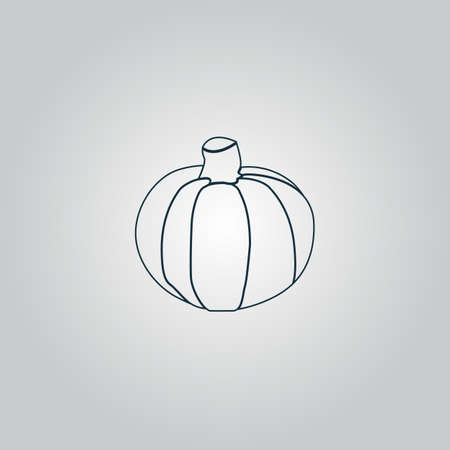 fruit stalk: Pumpkin. Flat web icon or sign isolated on grey background.