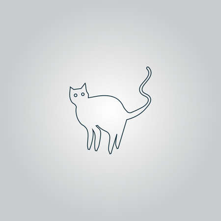grey cat: Evil Cat silhouette. Flat web icon or sign isolated on grey background.