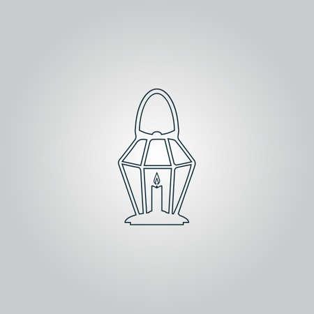 oillamp: Lantern. Flat web icon or sign isolated on grey background.
