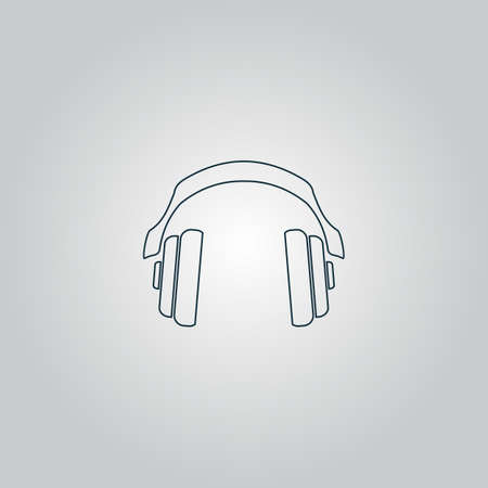tercet: Retro headphone. Flat web icon or sign isolated on grey background. Collection modern trend concept design style vector illustration symbol
