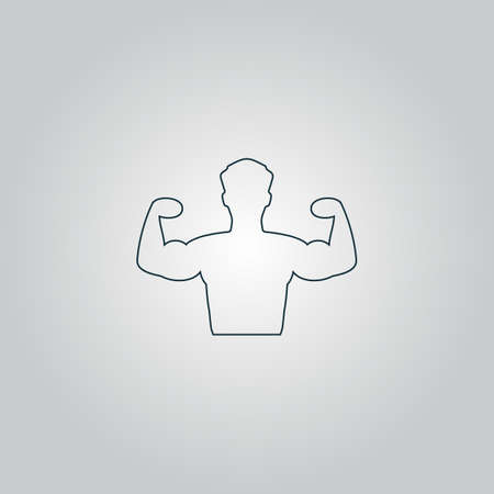 hunk: Bodybuilder Fitness Model. Flat web icon or sign isolated on grey background.