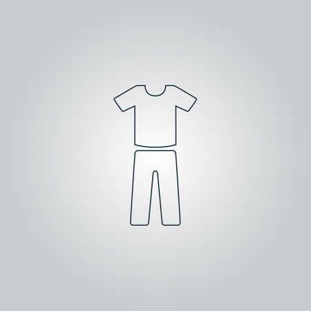 raglan: Uniform - pants and t-shirt. Flat web icon or sign isolated on grey background.  Illustration