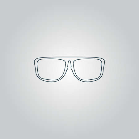 corrective lenses: Simple Glasses. Flat web icon or sign isolated on grey background.  Illustration