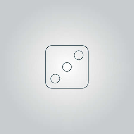 tossing: One dices - side with 3. Flat web icon or sign isolated on grey background.   Illustration