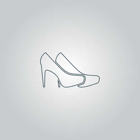 upmarket: Pair of shoes. Flat web icon or sign isolated on grey background.