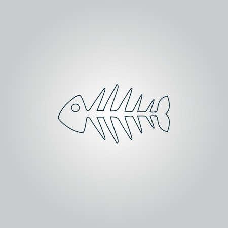 skeleton of fish: Esqueleto de los pescados. Icono del Web plano o signo aislado sobre fondo gris.