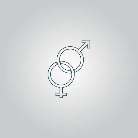 Twisted male and female sex symbol. Flat web icon or sign isolated on grey background.   向量圖像