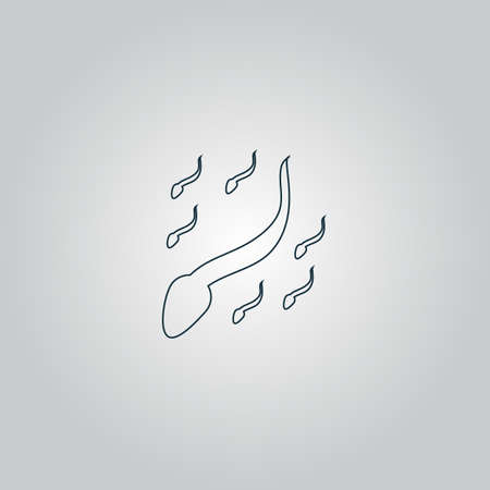 conjugation: Group sperm swimming. Flat web icon or sign isolated on grey background.