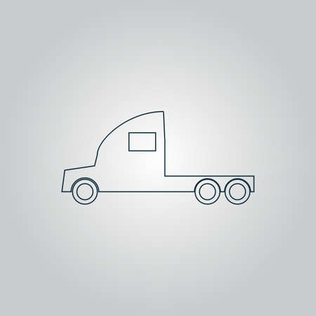 semitrailer: Truck without a trailer. Flat web icon or sign isolated on grey background.