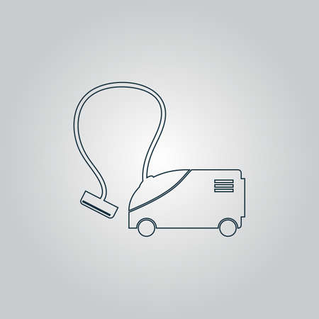 vac: Vacuum cleaner. Flat web icon or sign isolated on grey background.   Illustration