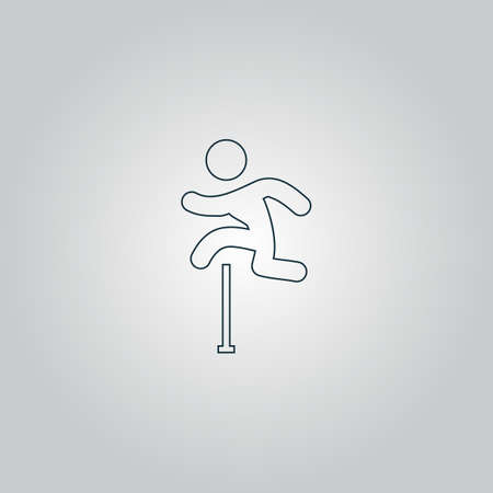obstacles: Man figure jumping over obstacles. Flat web icon or sign isolated on grey background. Collection modern trend concept design style vector illustration symbol Illustration