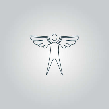 icarus: Winged man. Flat web icon or sign isolated on grey background. Collection modern trend concept design style vector illustration symbol Illustration
