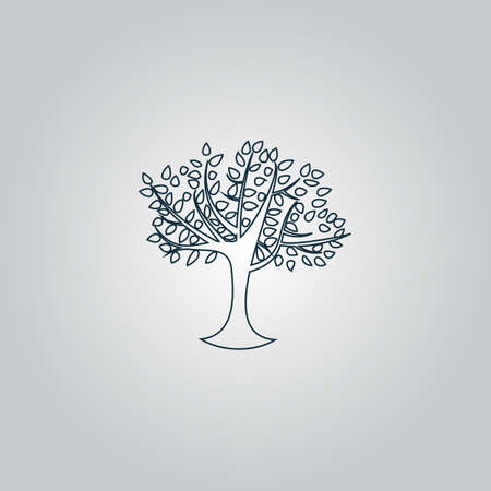 reforestation: Decorative simple tree. Flat web icon or sign isolated on grey background. Collection modern trend concept design style vector illustration symbol Illustration