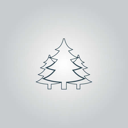 coppice: Tree, Christmas fir tree. Flat web icon or sign isolated on grey background. Collection modern trend concept design style vector illustration symbol Illustration