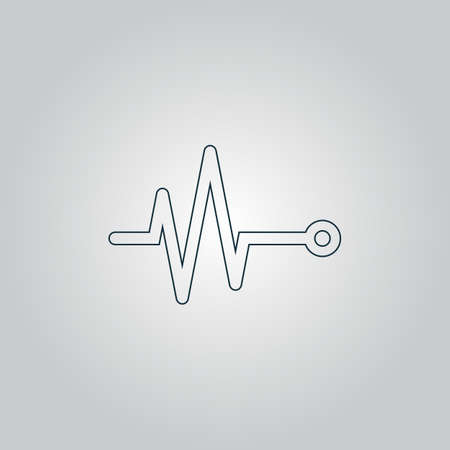 life line: Life line - Heart beat, cardiogram. Flat web icon or sign isolated on grey background. Collection modern trend concept design style vector illustration symbol