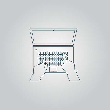 Business hands on notebook computer keyboard with open screen. Flat web icon or sign isolated on grey background. Collection modern trend concept design style vector illustration symbol