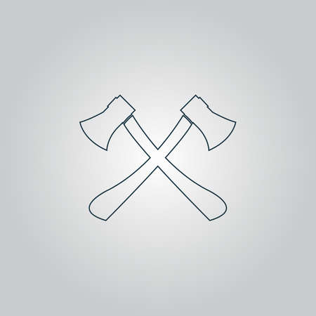 lumber: Two axes with wooden handles. Flat web icon or sign isolated on grey background. Collection modern trend concept design style vector illustration symbol Illustration
