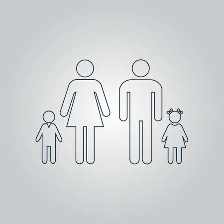 family isolated: Family. Flat web icon or sign isolated on grey background. Collection modern trend concept design style vector illustration symbol Illustration