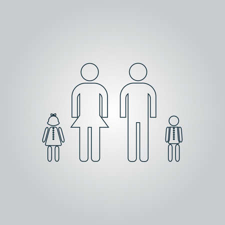 family isolated: Simple family. Flat web icon or sign isolated on grey background. Collection modern trend concept design style vector illustration symbol