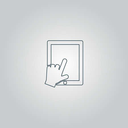depress: Click on the screen tablet. Flat web icon or sign isolated on grey background. Collection modern trend concept design style vector illustration symbol