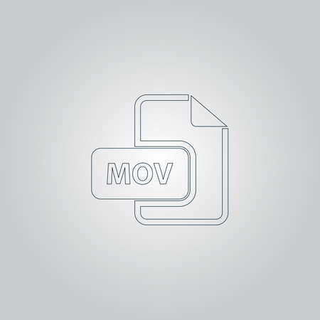 mpg: MOV video file extension. Flat web icon or sign isolated on grey background