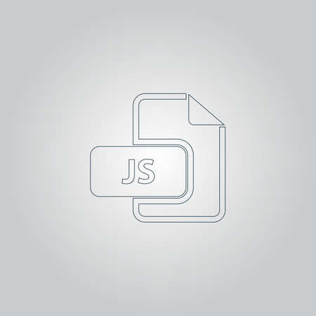 js: JS file extension. Flat web icon or sign isolated on grey background