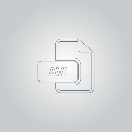 file extension: AVI video file extension. Flat web icon or sign isolated on grey background