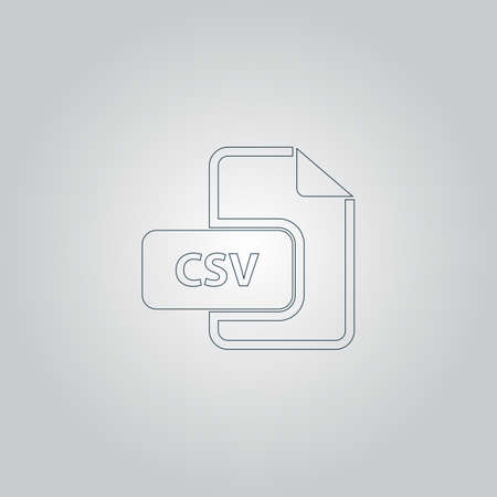 csv: CSV extension text file type. Flat web icon or sign isolated on grey background