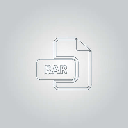 rar: RAR file format. Flat web icon or sign isolated on grey background. Collection modern trend concept design style vector illustration symbol