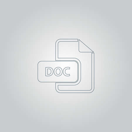 file extension: DOC vector file extension. Flat web icon or sign isolated on grey background Illustration