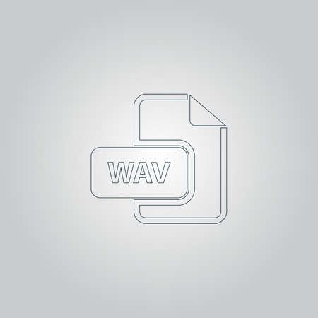 wav: WAV audio file extension. Flat web icon or sign isolated on grey background