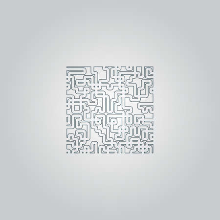 labirinth: Labyrinth Puzzle rebus. Flat web icon or sign isolated on grey background. Collection modern trend concept design style vector illustration symbol Illustration