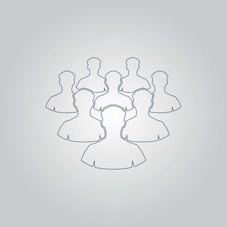 equal opportunity: Crowd of people. Flat web icon or sign isolated on grey background. Collection modern trend concept design style vector illustration symbol
