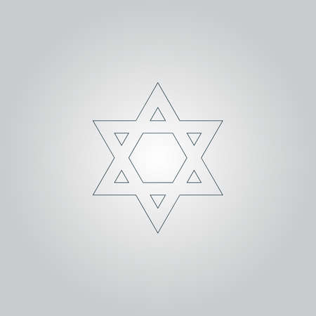 jews: Star of David. Flat web icon or sign isolated on grey background. Collection modern trend concept design style vector illustration symbol