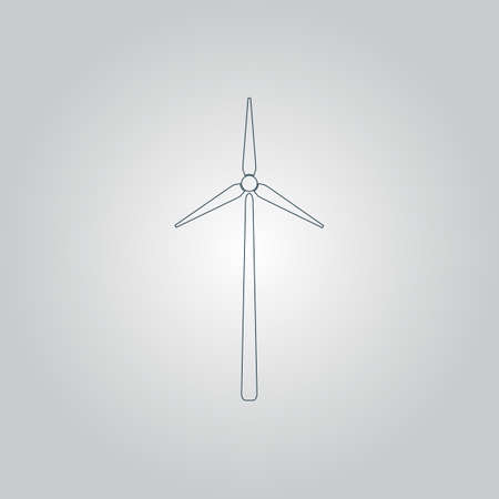 Windmill. Flat web icon or sign isolated on grey background Illustration