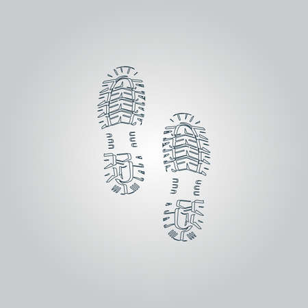 Clean shoe imprints. Flat web icon or sign isolated on grey background