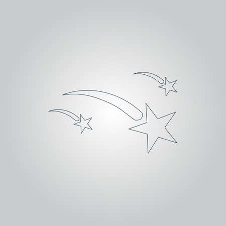 meteor shower: Meteor. Flat web icon or sign isolated on grey background Illustration
