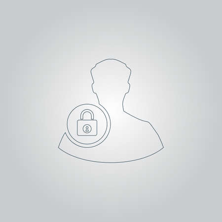 authenticate: User login or authenticate. Flat web icon or sign isolated on grey background. Collection modern trend concept design style vector illustration symbol