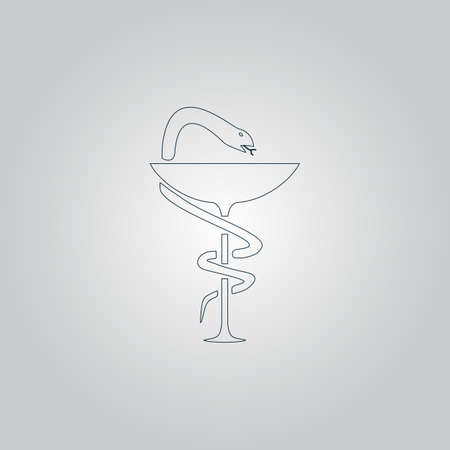 designate: Pharmacy with caduceus, bowl with a snake. Flat web icon or sign isolated on grey background