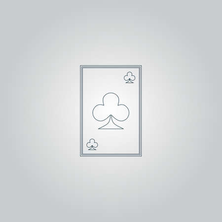 joker playing card: Clubs card. Flat web icon or sign isolated on grey background
