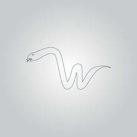 slither: Snake. Flat web icon or sign isolated on grey background