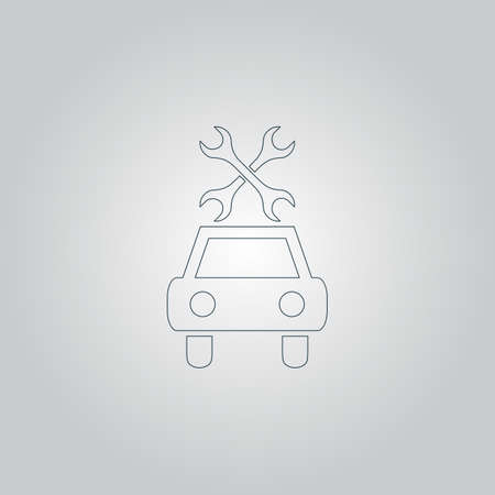 car service: Car service. Flat web icon or sign isolated on grey background Illustration