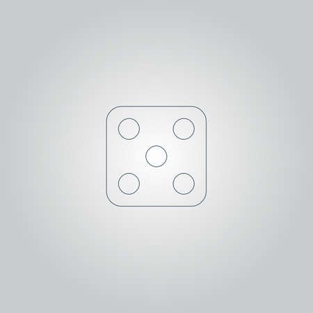 backgammon: One dices - side with 5. Flat web icon or sign isolated on grey background