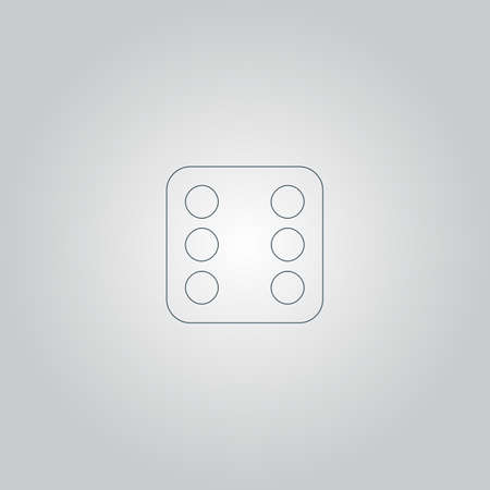 web side: One dices - side with 6. Flat web icon or sign isolated on grey background Illustration