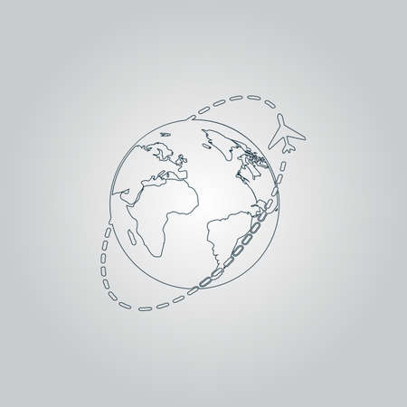 return trip: Air travel destination. Flat web icon or sign isolated on grey background